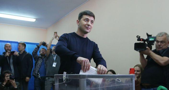 Kandydat na prezydenta Ukrainy, aktor Wołodymyr Zełenski