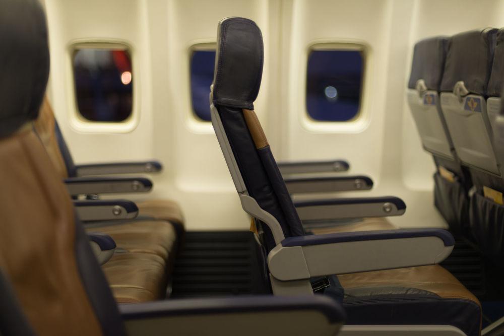 Wnętrze samolotu amerykańskiej linii lotniczej Southwest Airline plane
