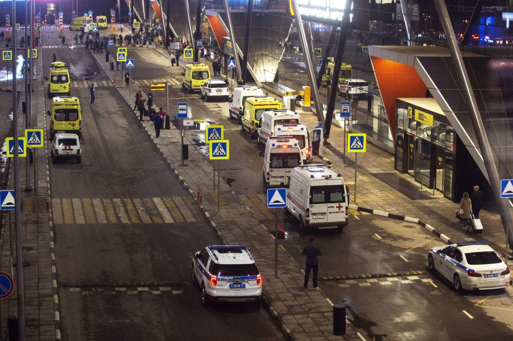 Karetki pogotowia w porcie lotniczym Szeremietiewo w Moskwie