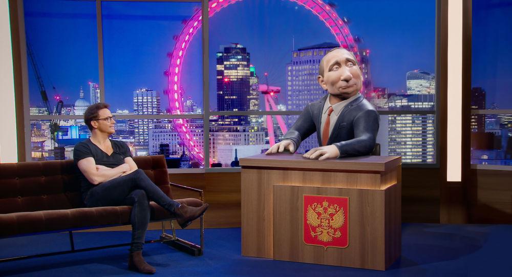 Kadr z nowego programu BBC z kukiełkowym Władimirem Putinem w roli prowadzącego