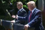 Prezydent Polski Andrzej Duda i prezydent USA Donald Trump podczas konferencji prasowej w Białym Domu
