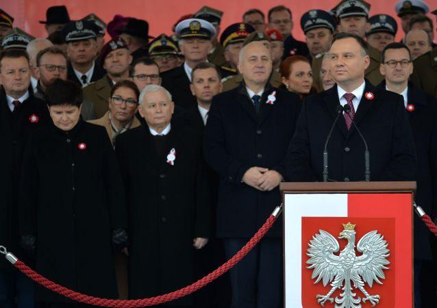 Andrzej Duda,Mateusz Morawiecki, Jarosław Kaczyński na obchodach stulecia odzyskania niepodległości