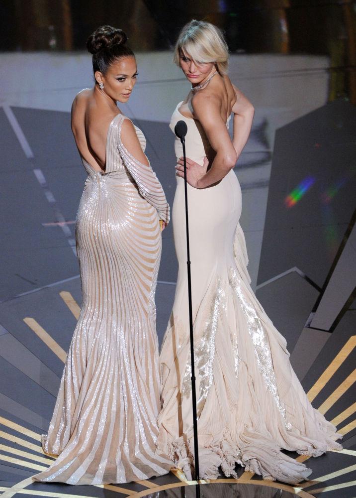 Jennifer Lopez i Cameron Diaz podczas uroczystości wręczania Nagród Akademii Filmowej w 2012 roku
