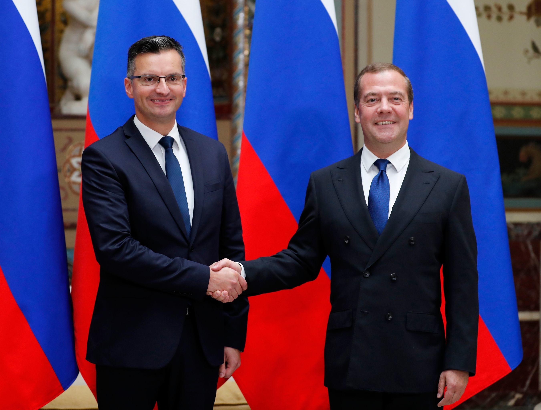 Premier Rosji Dmitrij Miedwiediew podczas rozmów z premierem Republiki Słowenii Marjanem Šarecem w Moskwie