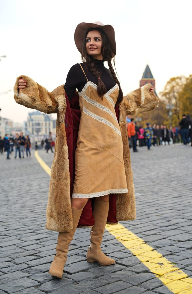 Turystka na Placu Czerwonym w Moskwie
