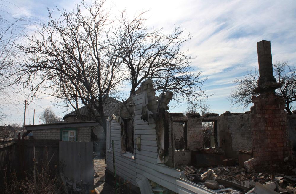 Zniszczone domy w Debalcewe