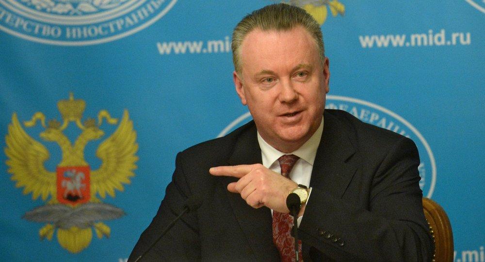 Rzeczniki MSZ Rosji Aleksander Łukaszewicz podczas briefingu w Moskwie