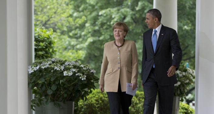 Kanclerz Niemiec Angela Merkel i prezydent USA Barack Obama