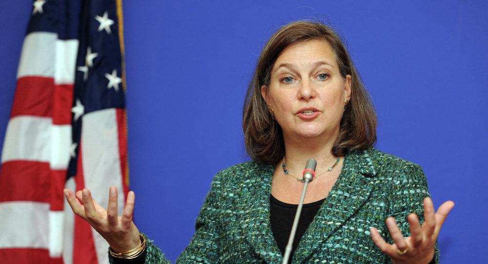 Asystentka sekretarza stanu ds. Europy i Eurazji Victoria Nuland podczas konferencji prasowej w Tbilisi