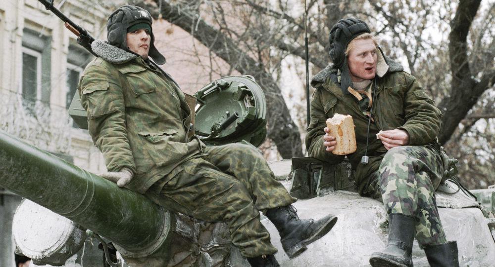Rosyjscy żołnierze w Czeczenii