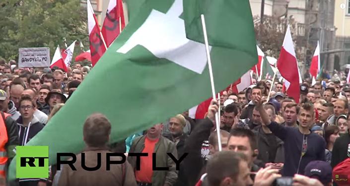 Nacjonaliści polscy podczas akcji przeciwko uchodźcom