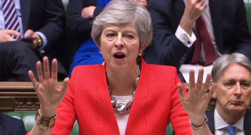 Premier Wielkiej Brytanii Theresa May podczas wystapienia w brytyjskim parlamencie