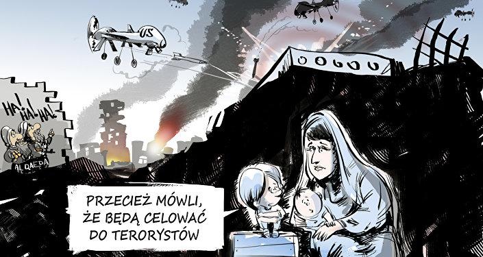 Karykatura: Przecież mówli, że będą celować do terorystów