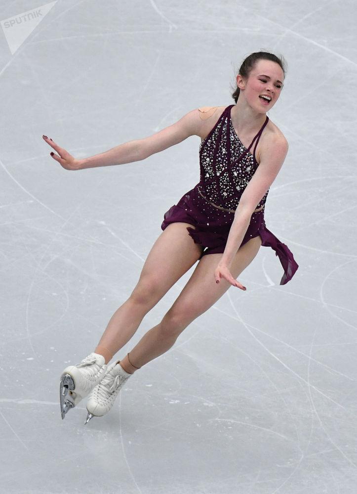 Mariah Bell z USA w krótkim programie solowym kobiet na Mistrzostwach Świata w łyżwiarstwie figurowym w Saitame.