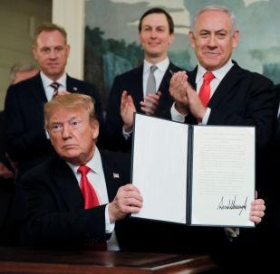 Prezydent USA Donald Trump podpisał dokument o uznaniu suwerenności Izraela nad Wgórzami Golan
