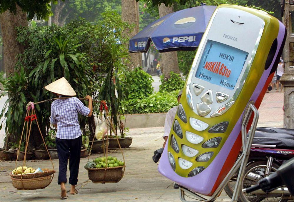 Reklama telefonu Nokia w Hanoi, 2002 rok