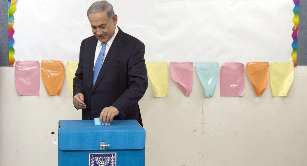 Premier Izraela Benjamin Netanjahu podczas wyborów parlamentarnych w Jerozolimie