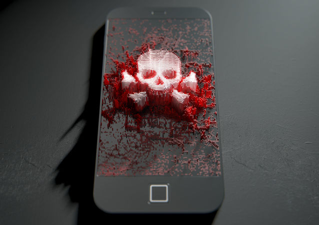 Czaszka i skrzyżowane kości na ekranie telefonu
