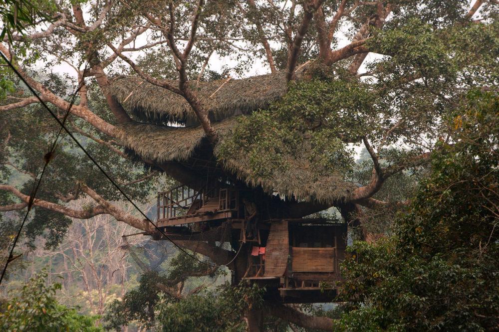 Hotel na drzewie w Laosie
