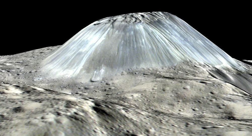 Lodowy wulkan Ahuna Mons na planecie Ceres