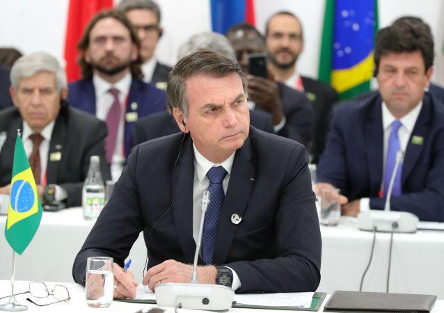 Prezydent Brazylii Jair Bolsonaro na szczycie G20 w Osace