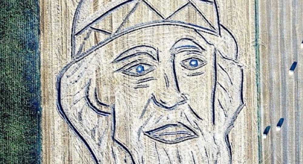 Portret księcia Włodzimierza stworzony przez włoskiego artystę na traktorze Dario Gambarina