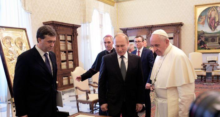 Władimir Putin na spotkaniu z papieżem Franciszkiem