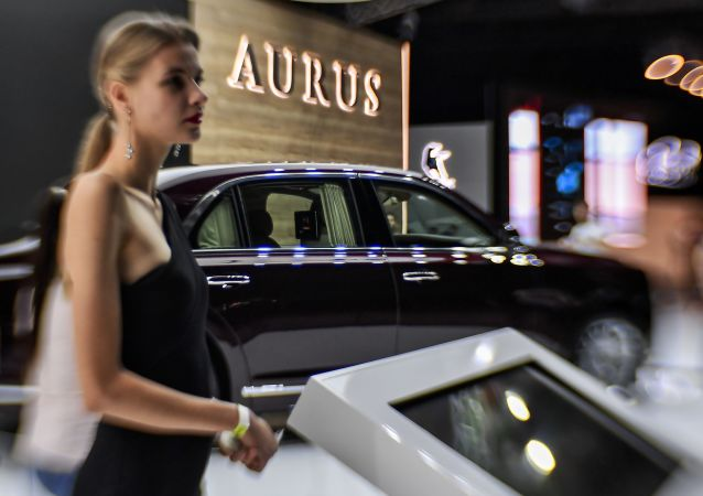 Samochód Aurus Senat na Moskiewskim Międzynarodowym Pokazie Motoryzacyjnym 2018