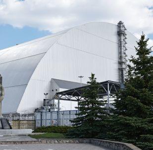 Powłoka ochronna w formie łuku Ukrycie-2, zbudowana nad zniszczonym w wyniku awarii 4. blokiem energetycznym elektrowni atomowej w Czarnobylu
