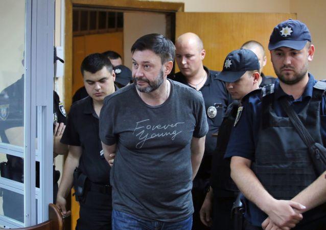 Dyrektor portalu Ria Novosti Ukraina Kiriłł Wyszynski na posiedzeniu Podolskiego Sądu Rejonowego w Kijowie