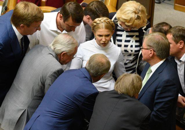 Liderka partii Batkiwszczyna Julia Tymoszenko