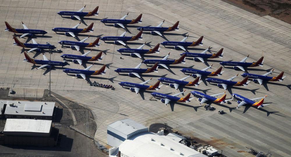 Samoloty Southwest Airlines Boeing 737 MAX na lotnisku w Kalifornii
