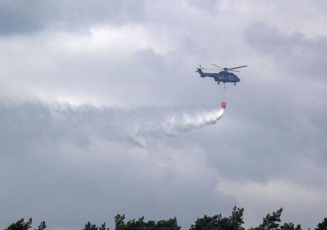 Gaszenie pożaru w Niemczech