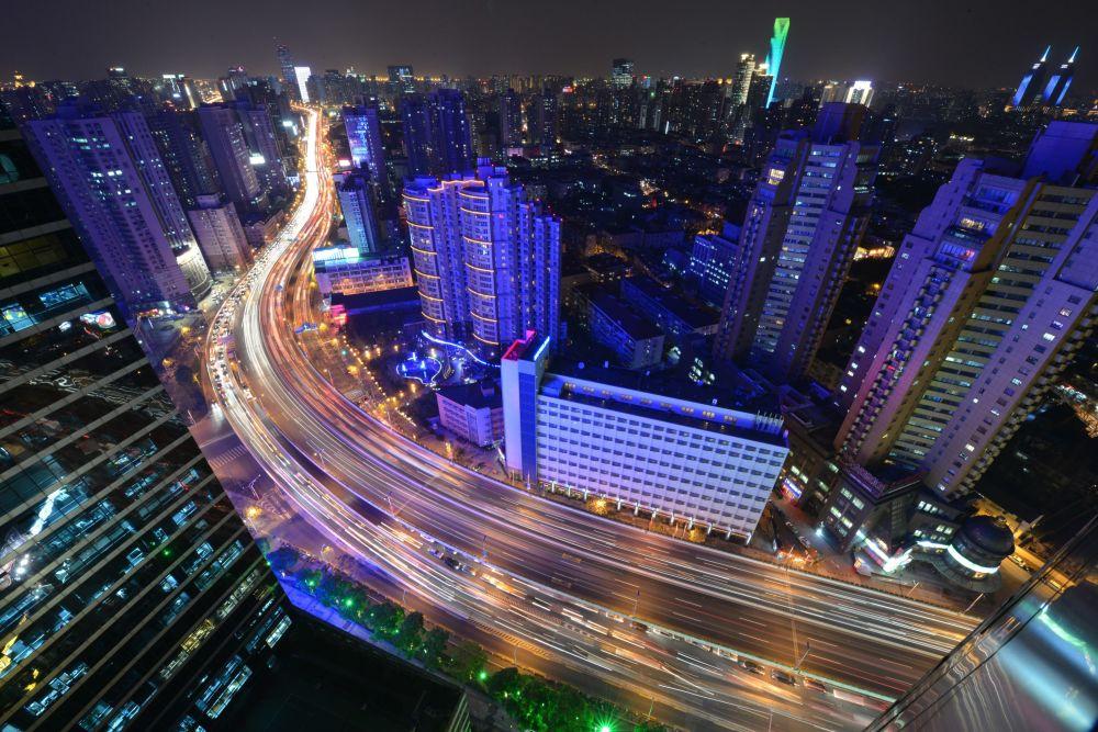 Nocny widok na Szanghaj