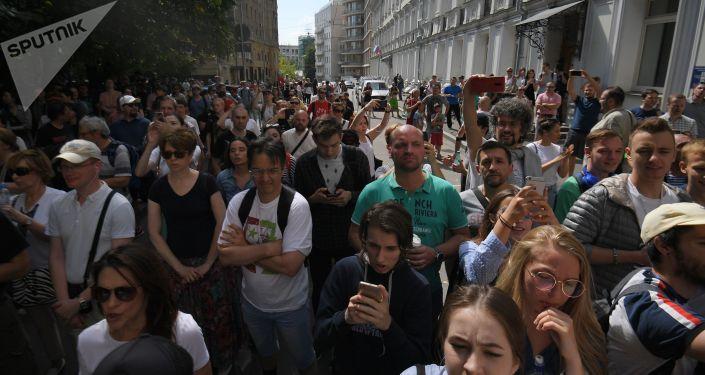 Niesankcjonowana akcji w centrum Moskwy 27 lipca 2019 r.