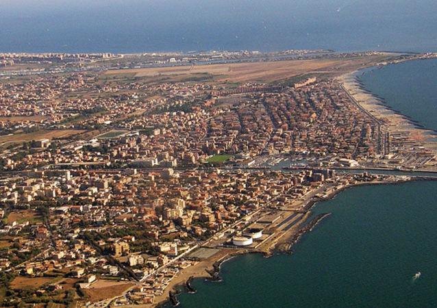 Miejscowość Fiumicino pod Rzymem z lotu ptaka