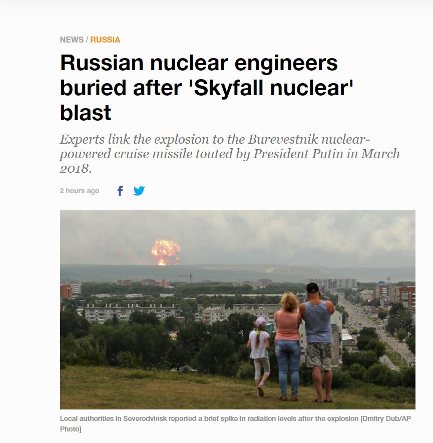 """Aljazeera wykorzystała złe zdjęcie do artykułu """"Russian nuclear engineers buried after 'Skyfall nuclear' blast"""