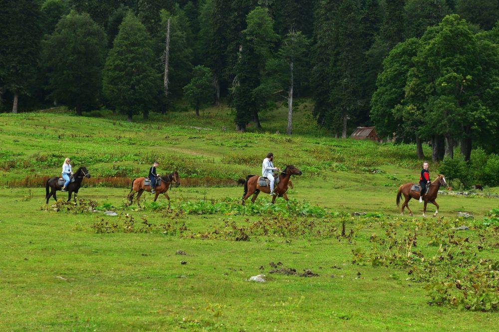Turyści na koniach w Reliktowym Parku Narodowym w Abchazji
