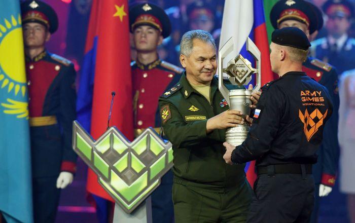 Siergiej Szojgu na ceremonii zamknięcia igrzysk wojskowych Armia 2019