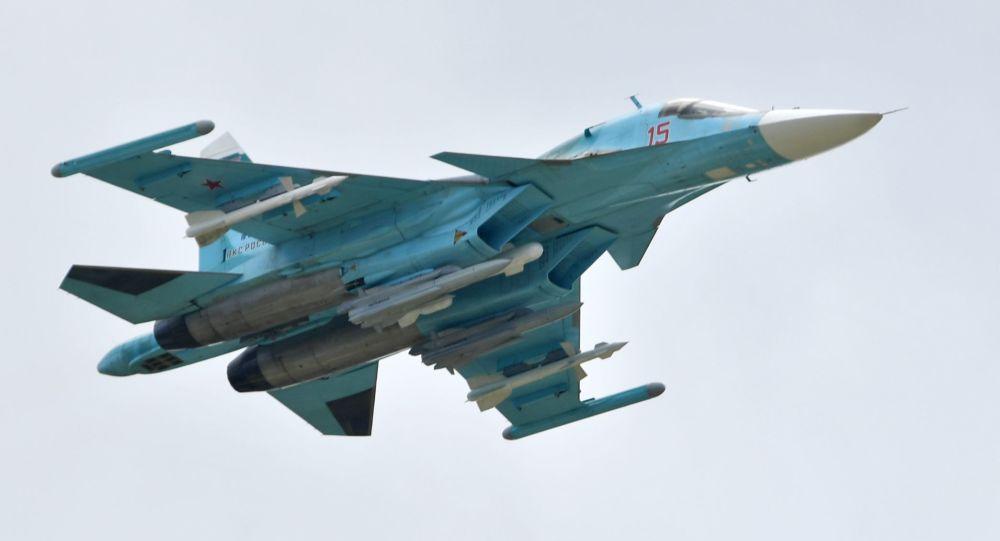 Rosyjski myśliwiec Su-34 na Międzynarodowym Salonie Lotniczym i Kosmicznym MAKS 2019