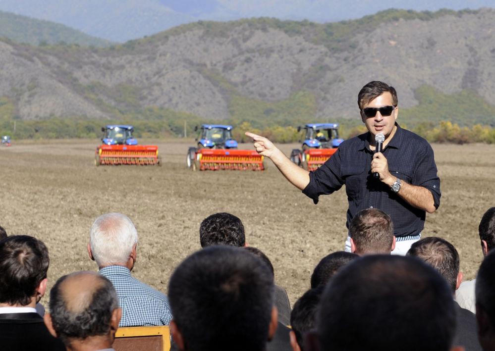 Micheil Saakaszwili na spotkaniu z rolnikami