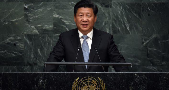 Sekretarz generalny ChRL Xi Jinping przemawia z trybuny Zgromadzenia Ogólnego ONZ