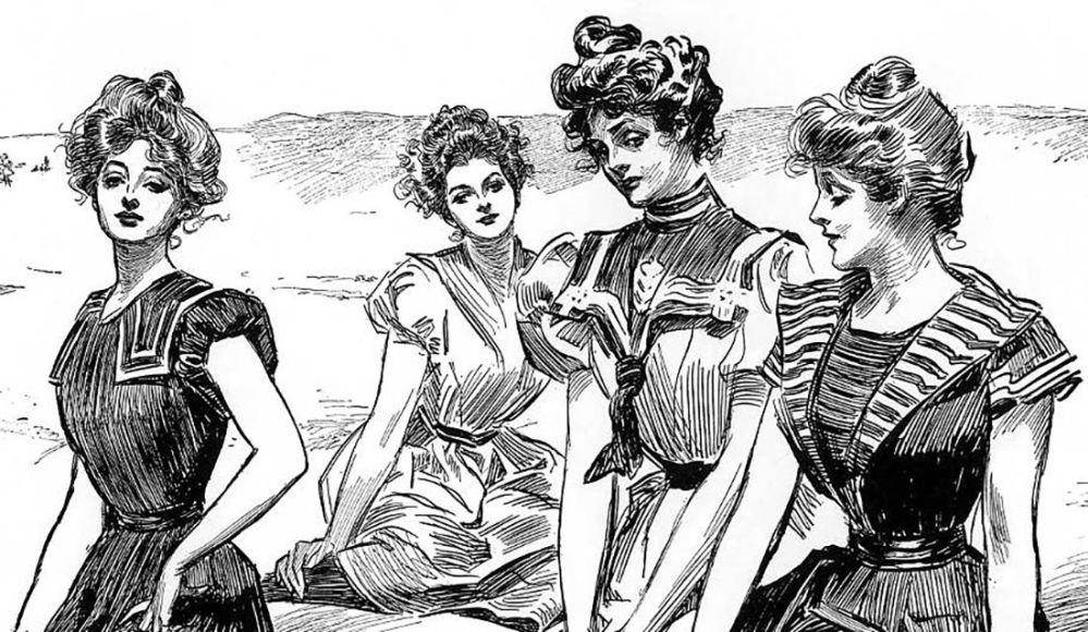 """Kobiecy ideał urody """"Gibson Girl"""", opracowany przez amerykańskiego rysownika Charlesa Dana Gibsona."""