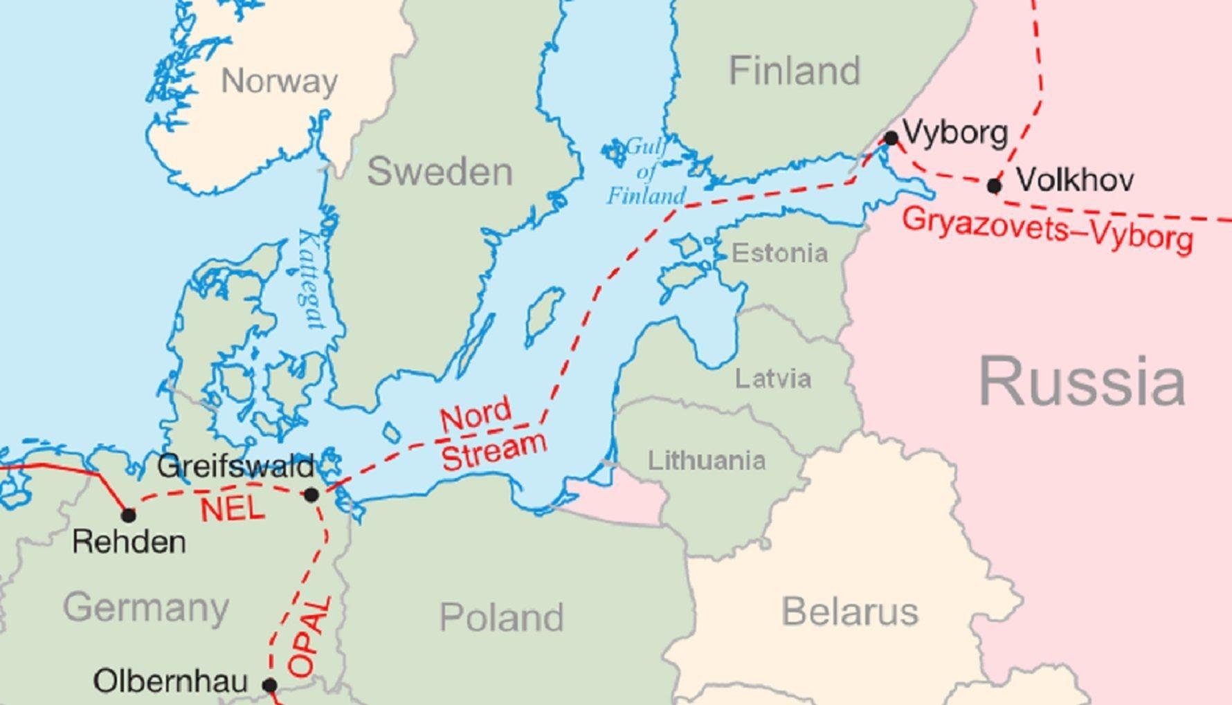 Grafika Nord Stream i OPAL