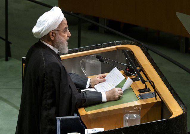 Prezydent Iranu Hasan Rouhani w czasie wystąpienia na forum Zgromadzenia Ogólnego ONZ