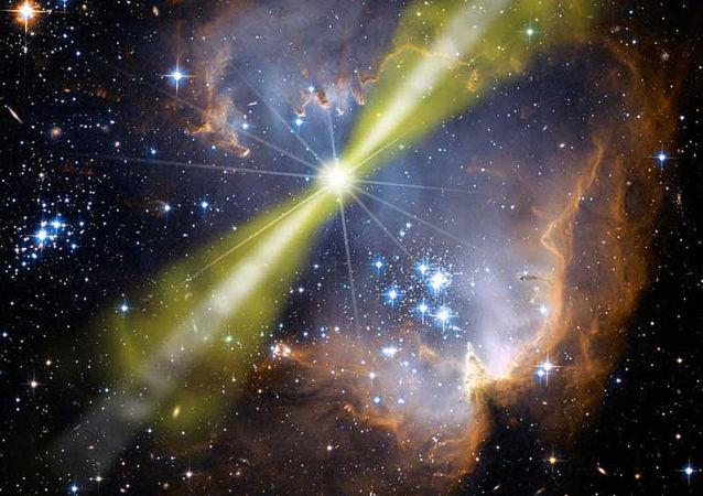 Artystyczne wyobrażenie jednego modelu jasnego rozbłysku gamma GRB 080319B