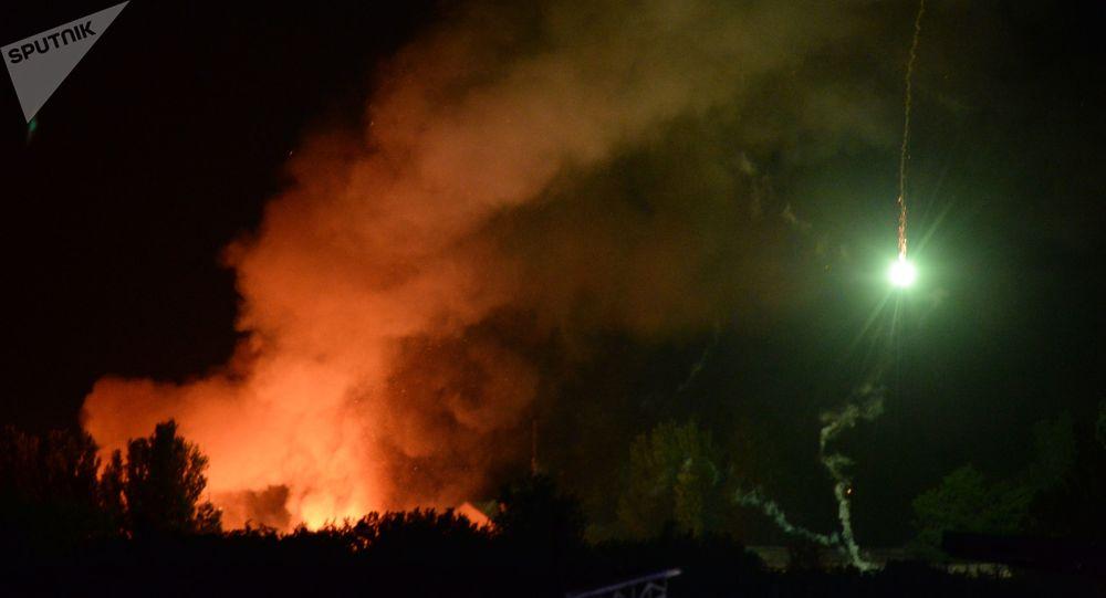 Pożar składów amunicji na terenie jednostki wojskowej w Doniecku