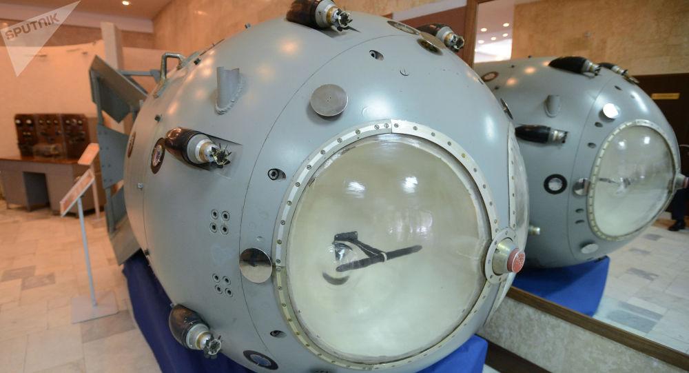 Pierwsza radziecka bomba atomowa RDS-1 w muzeum Wszechzwiązkowego Instytutu Badawczego Fizyki Eksperymentalnej