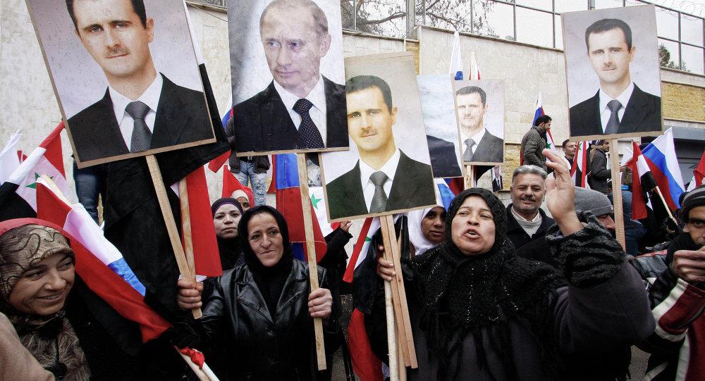 Wiec poparcia na rzecz Rosji w Damaszku