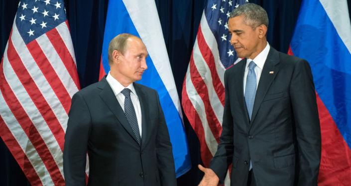 Prezydent Rosji Władimir Putin i prezydent USA Barack Obama podczas spotkania w ramach 70. sesji Zgromadzenia Ogólnego ONZ w Nowym Jorku